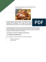 Otras Clasificaciones de Los Productos Cárnicos Procesados