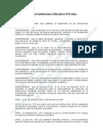 Reglamento de Las Instituciones Educativas Privadas