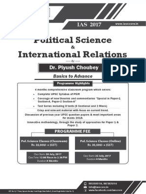 Pol  Science and International Relations | International
