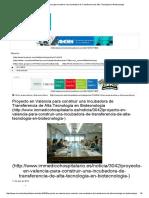 Proyecto en Valencia Para Construir Una Incubadora de Transferencia de Alta Tecnología en Biotecnología