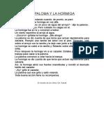 La Calahorra Guion Didáctico 2º Ciclo La Paloma y La Hormiga
