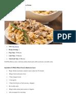 Whole Wheat Pasta in Mushroom Sauce Recipe