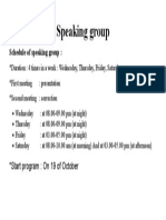Speaking Group Schedule