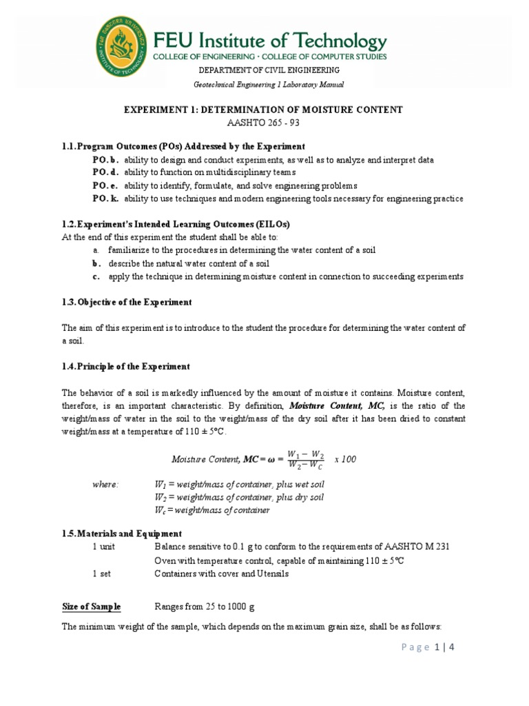 CE_Geotechnical Engineering 1 Manual | Experiment | Geotechnical Engineering