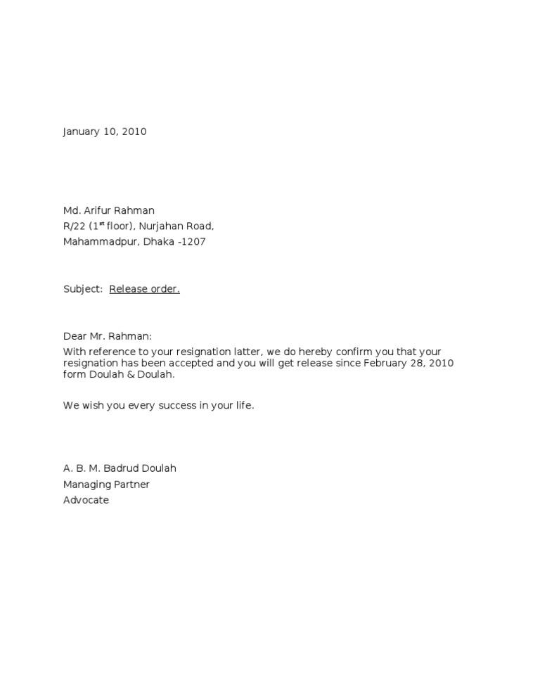 Format of relieving letter job release letter spiritdancerdesigns Gallery