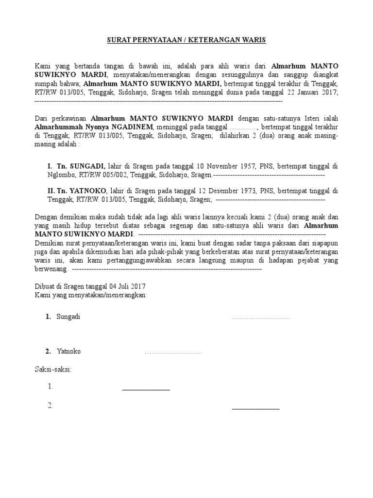 Contoh Surat Warisan Untuk Anak