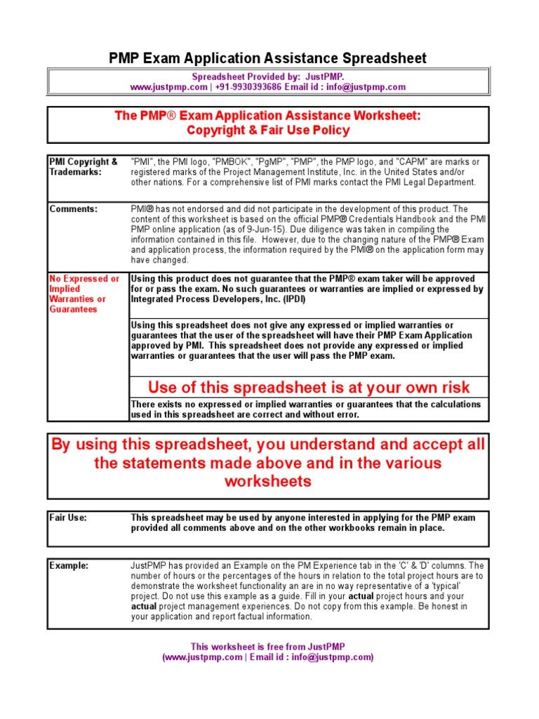 Pmp Application Spreadsheet Project Management Audit