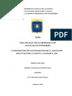 CALIDAD DE VIDA DE LOS INTEGRANTES DE LA ASOCIACIÓN ADULTO MAYOR LA TULPUNA. CAJAMARCA, 2016.