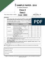 FIITJEE Big Bang 2016 Paper 2 Class 8 Sample
