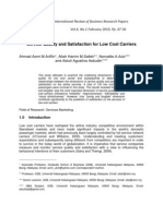 Ariffin, Salleh, Aziz & Asbudin (2010) 'Service Quality and Satisfaction for Low Cost Carriers', International Review of Business Research Papers, Vol. 6, No. 1, Pp. 47-56.