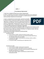 Lista de Exercícios 1 - Capítulo 2 - Sistemas Operacionais