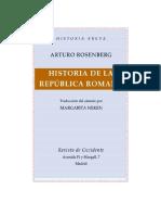 Rosenberg Arturo - Historia de La Republica Romana