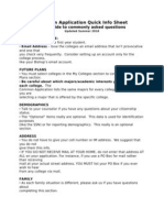 Common Application Quick Info Sheet