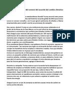 Donald Trum Se Retira Del Conveni Del Acuerdo Del Cambio Climatico de Paris