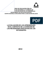 Sistema de Evaluación de Los Aprendizajes Para Estudiantes Especiales en Costa Rica