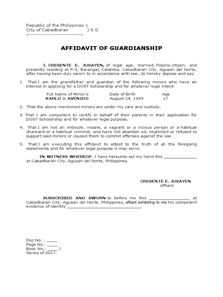 Affidavit of guardianship affidavit legal guardian yelopaper Images