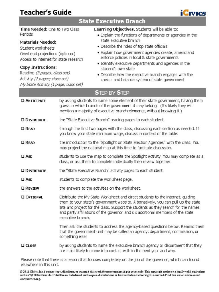 Worksheets Executive Branch Worksheet state executive icivis lesson plan voter id laws in the united states identity document