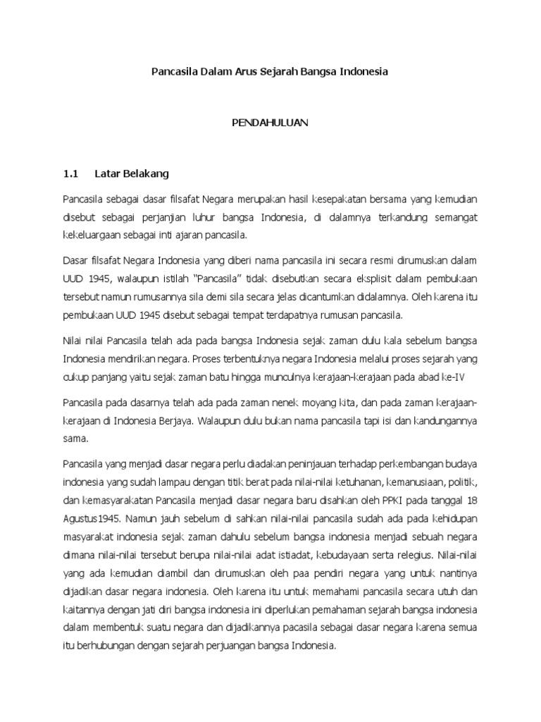 Contoh Makalah Bagaimana Pancasila Dalam Arus Sejarah Bangsa Indonesia