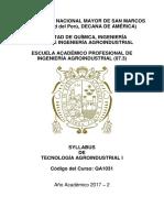 Syllabus Tecnologia Agroindustrial i 2017-2