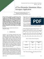 Survey of Joining of Two Dissimilar Aluminium Alloys for Aerospace Application