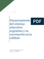 Financiamiento Del Sistema Educativo Argentino y Su Correlación en La Calidad