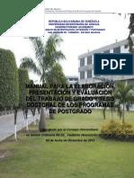 Manual Para La Elaboración, Presentación y Evaluación Del Trabajo de Grado y Tesis Doctoral Programas de Postgrado (2015)