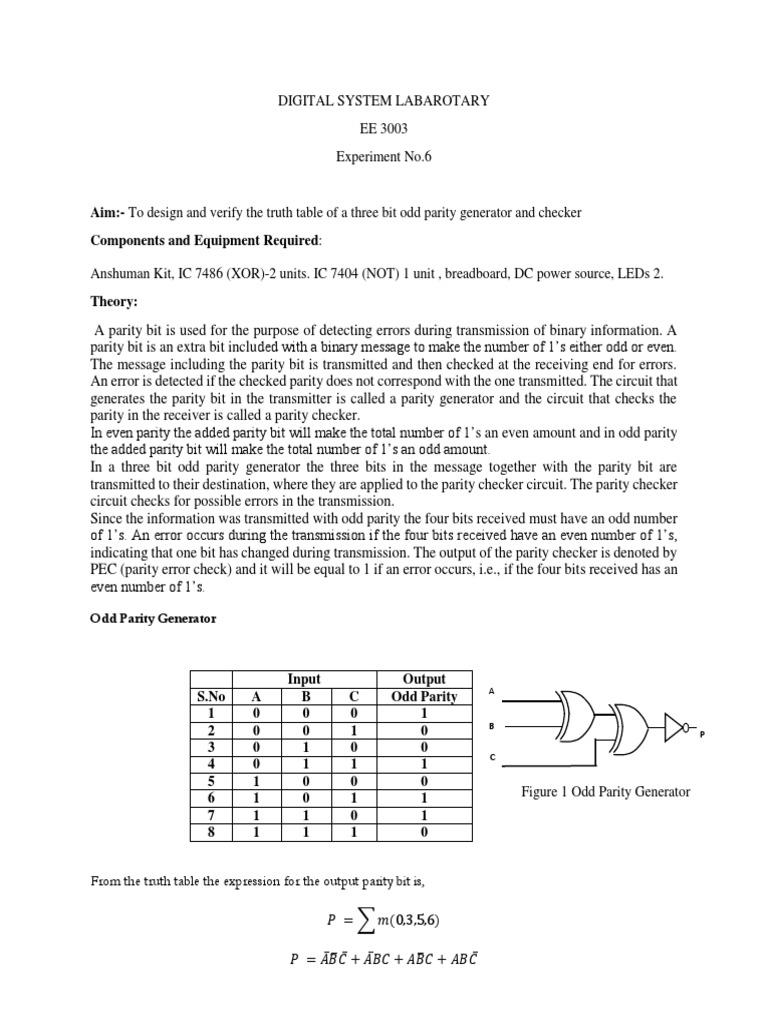 Exp 6 Electronic Circuits Transmitter 9 Bit Parity Generator Logic Diagram