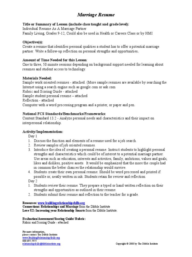 marriage resume pdf résumé rubric academic
