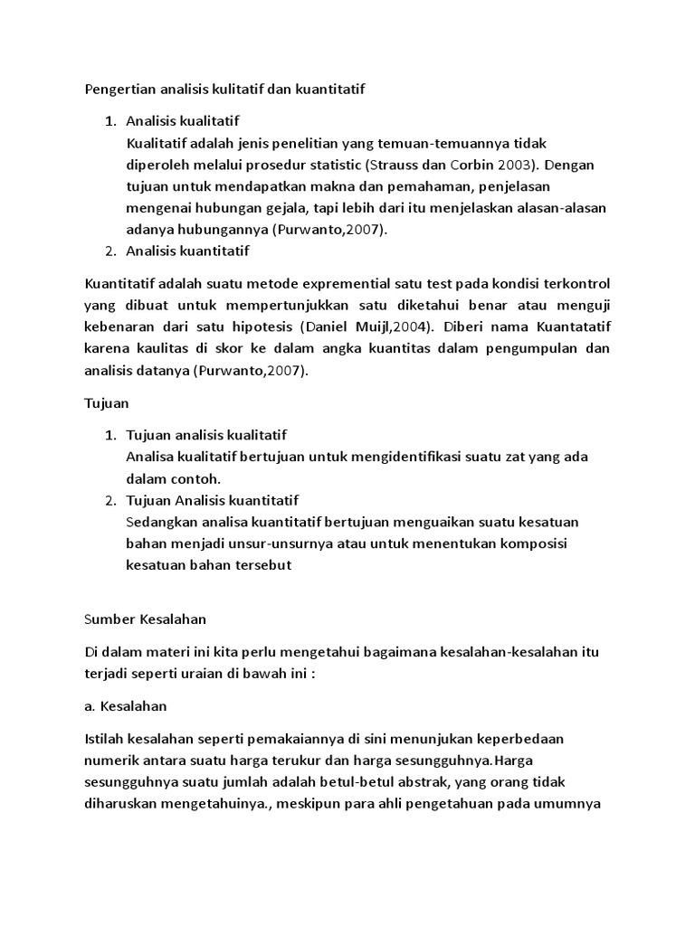 Pengertian Analisis Kulitatif Dan Kuantitatif Docx