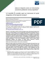 ¿Se puede considerar el deporte como un instrumento de integración social de la población reclusa española? Marta Zubiaur González