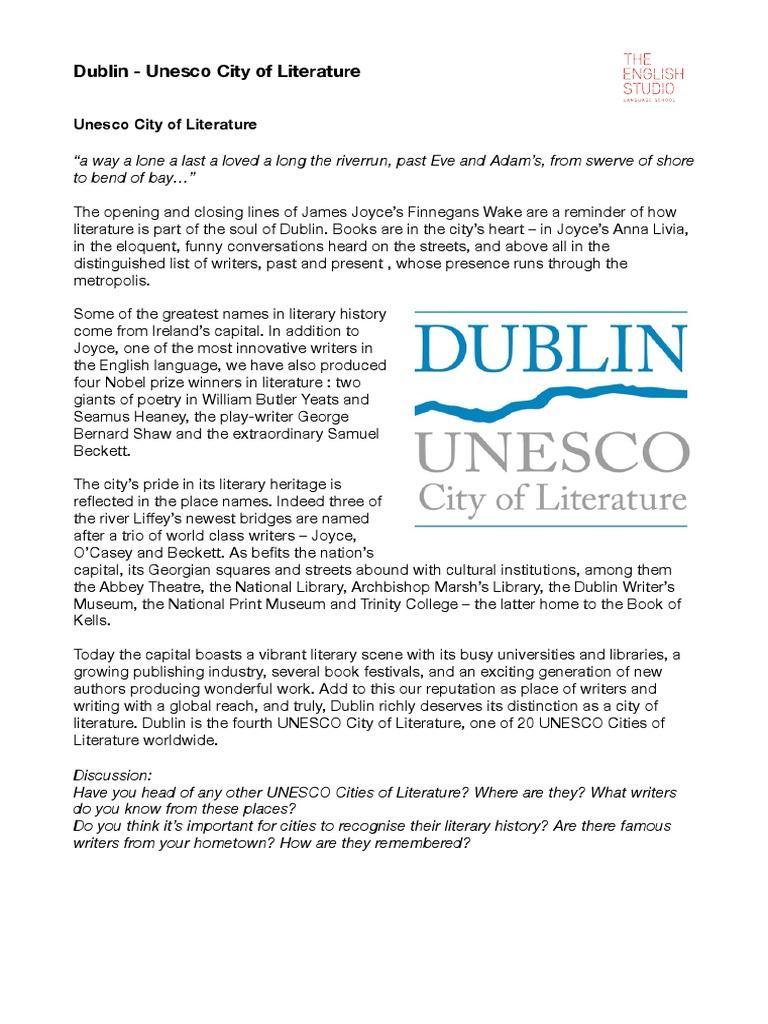 Dublin City of Literature (Joyce:Kavanagh) Worksheet | James