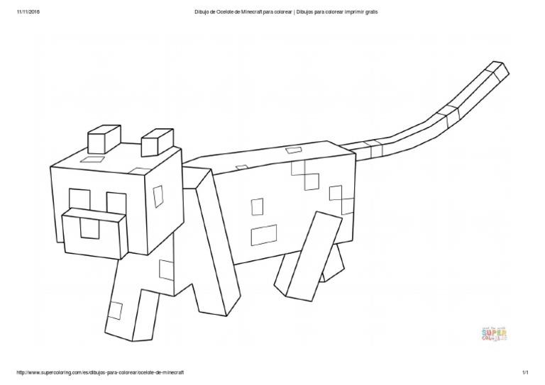 Dibujo De Ocelote De Minecraft Para Col Dibujos Para Colorear