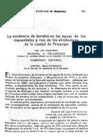 La Existencia de Boratos en Las Aguas de Los Manan