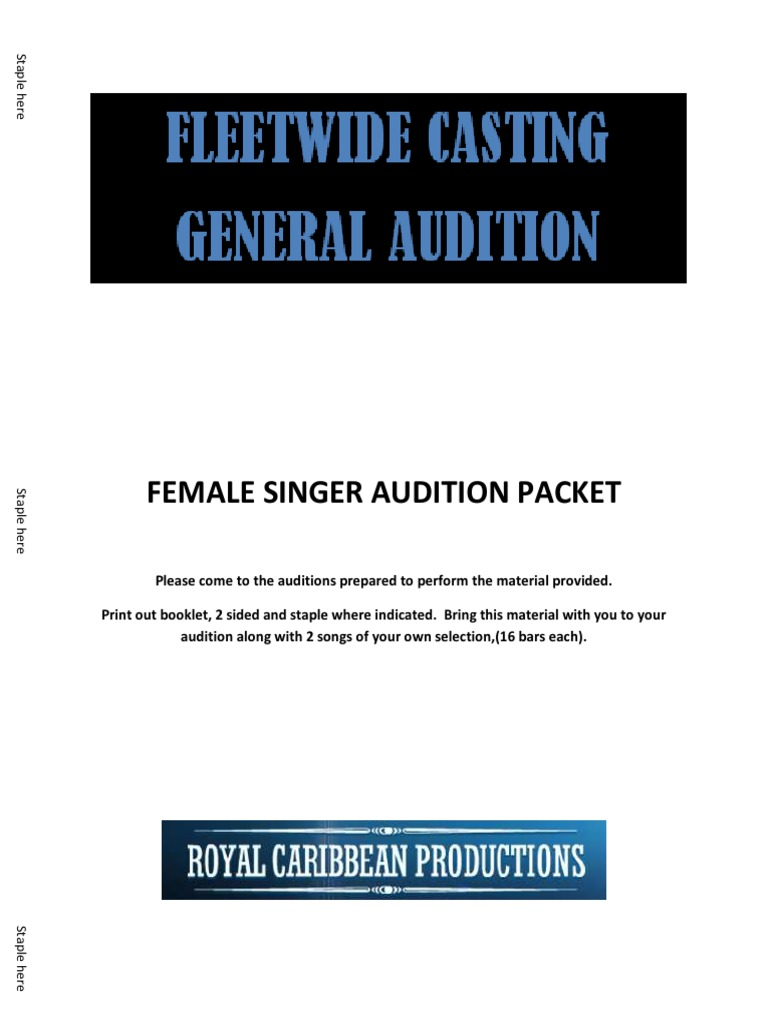 General Audition Packet Female Singer | Recorded Music (13