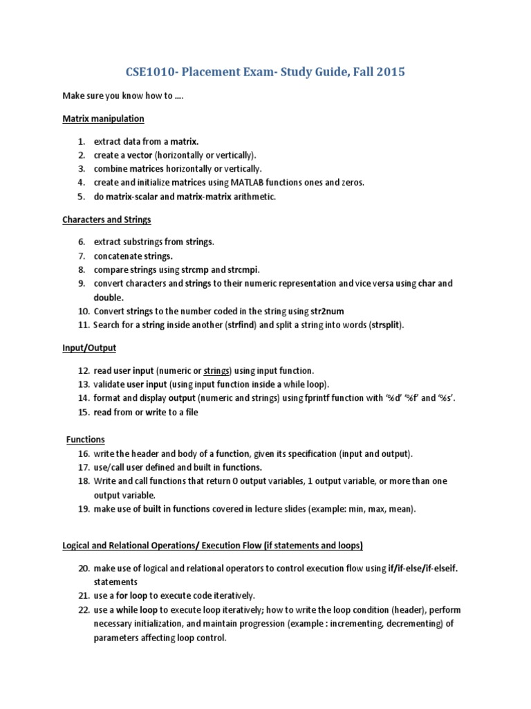 CSE 1010 Placement Exam Study Checklist