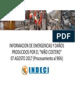 """Información de emergencias y daños producidos por el """"Niño Costero"""" - Agosto 2017"""