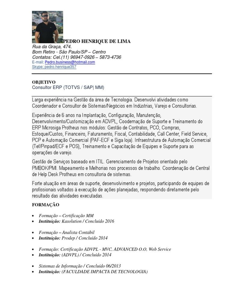 Fantástico Resume Erp Consultor Ilustración - Colección De ...