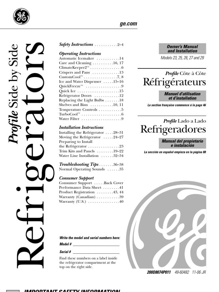 GE Profile Owners Manual