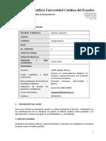 Curso Genero y Derecho, Programa de la Universidad Pontificia del Ecuador