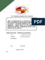 Cacterización de La Gestión de Calidad Bajo El Enfoque de Selección de Personal en Las Micro y Pequeñas Empresas Del Sector Comercio