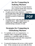 Strategies for Global Markets