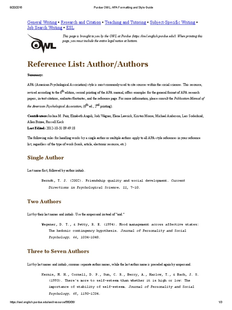 purdue owl_ apa formatting and style guide p2 author american psychological association citation