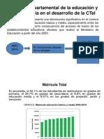 Contexto Departamental de La Educación y Su Incidencia en El Desarrollo de La CTeI