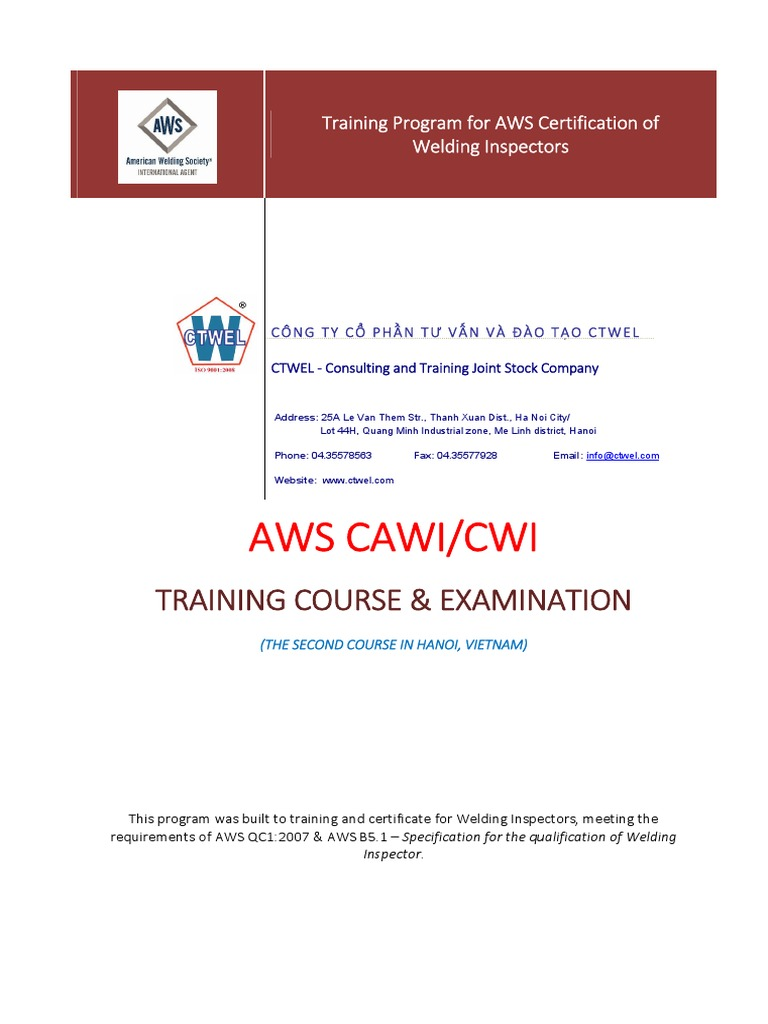 090515- AWS CWI (at CTWEL) -Training Course - Proposed Quotation for  Customers - English | Welding | Mechanical Engineering