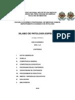 UNMSM Sílabo Patología Especial 2016