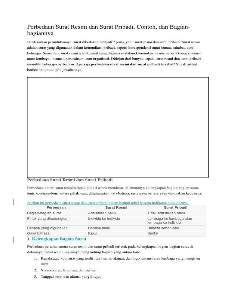 Perbedaan Surat Pribadi Dan Surat Resmi - Kumpulan Surat ...