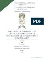 INCLUSIÓN DE PERSONAS CON DISCAPACIDAD EN ÁREAS DE TECNOLOGÍAS DE INFORMACIÓN Y COMUNICACIÓN