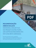 Recomendação 003 - Memorial Descritivo Do Projeto Estrutural