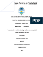 Interpretacion y Analisis Del Codigo de Etica y Deontologia Del Colegio de Obstetras Del Peru
