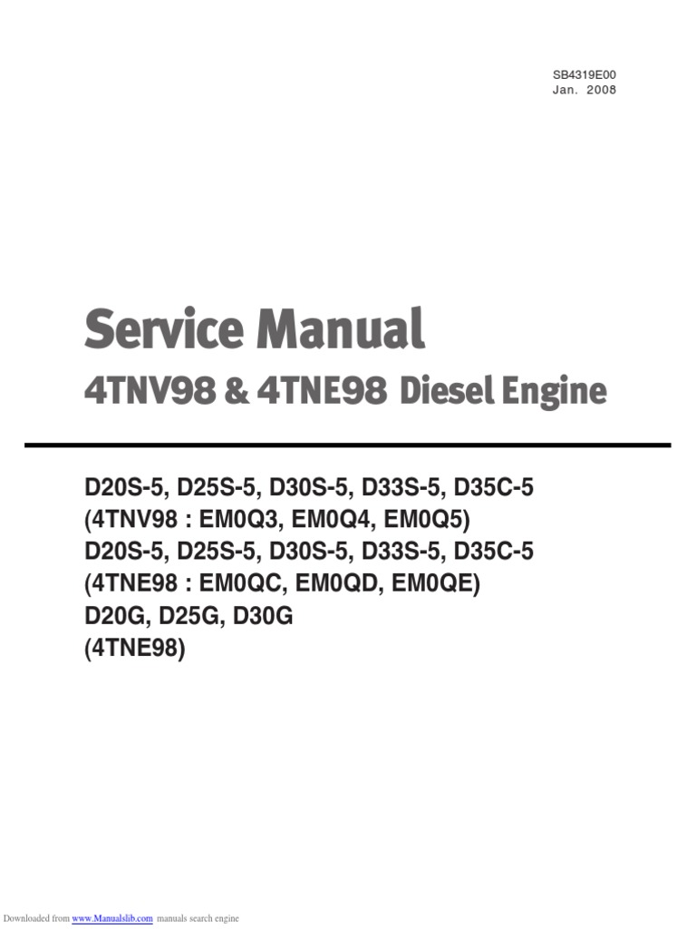 4TNE98 Engine Service Manual | Fuel Injection | Diesel Fuel